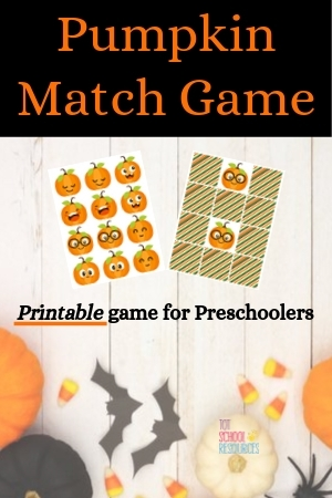 Pumpkin Match game preschoolers