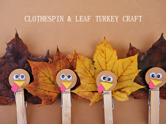 Clothespin & Leaf Turkey Craft