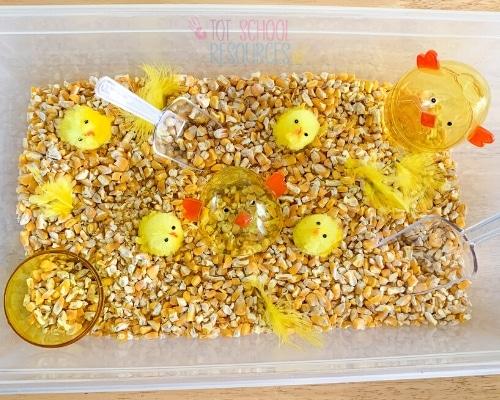 easter chick sensory bin