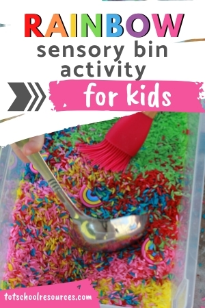 rainbow rice sensory bin activity