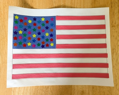 american flag craft on table