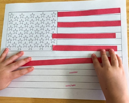 attach red stripes to flag template