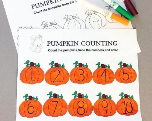 counting pumpkins preschool printable