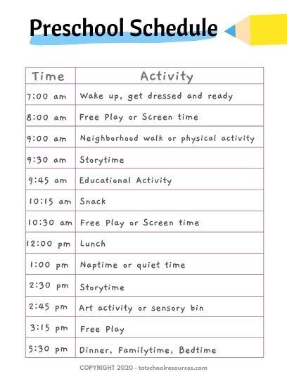 homeschool preschool schedule