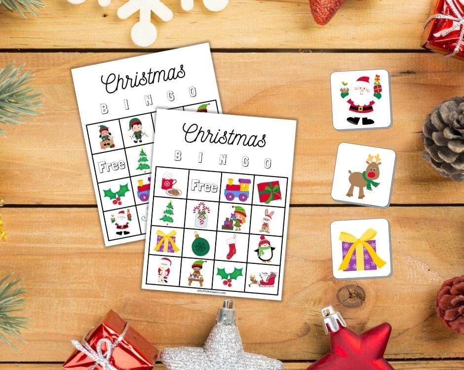Christmas Bingo cards on table