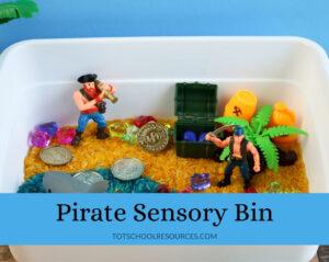 pirate themed sensory bin