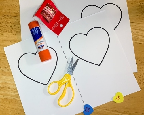 Valentines heart card craft supplies