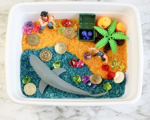pirate sensory bin for toddlers & preschoolers