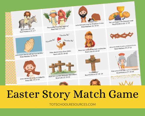 Easter story memory game title image