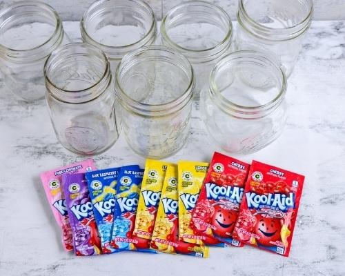 kool aid and jars to dye eggs
