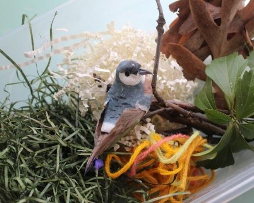 Bird nest sensory bin supplies